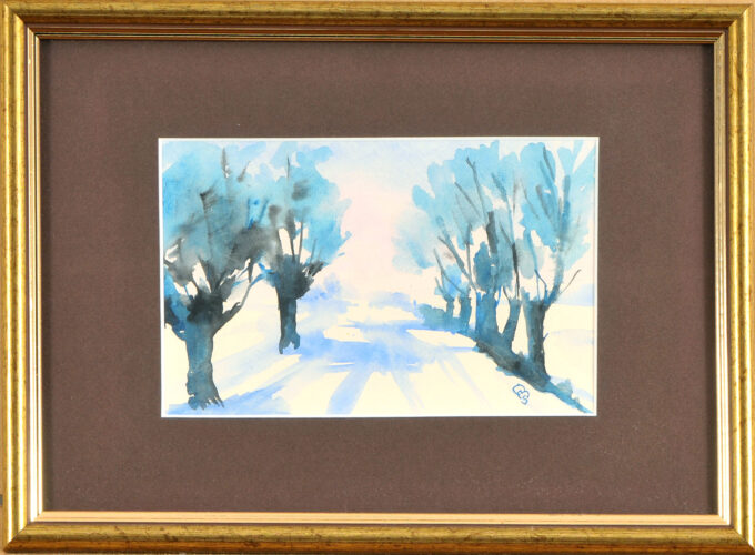 Droga, zima, drzewa niebieskie