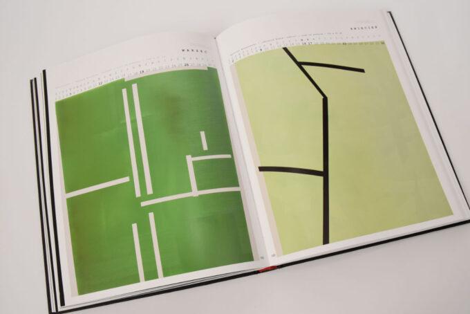 na rozkładówce obrazy zielone z białymi i czarnym liniami przypominającymi mapy