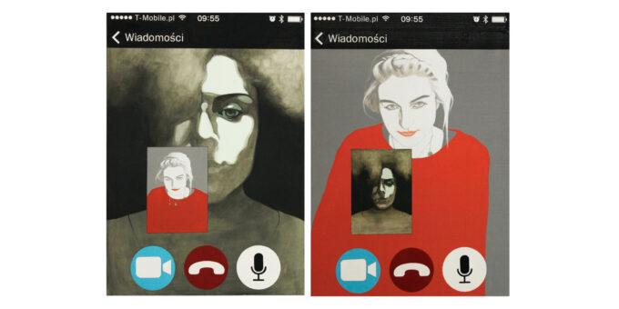 """Malarstwo portret dwóch kobiet """"Życie w sieci"""""""