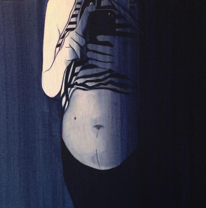 """Kobiecy tors z odsłoniętym brzuchem, malarstwo """"Ciąża"""""""