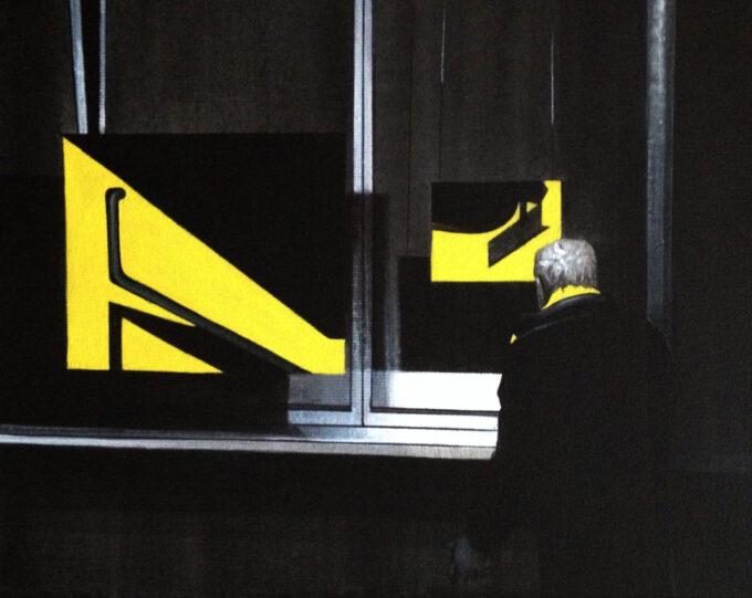 """Mężczyzna stoi przed witryną, malarstwo """"Żółty Szalik"""""""