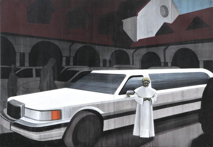 Dziecko w sukni białej stoi na dziedzińcu przed limuzyną, Magdalena Leśniak Komunia