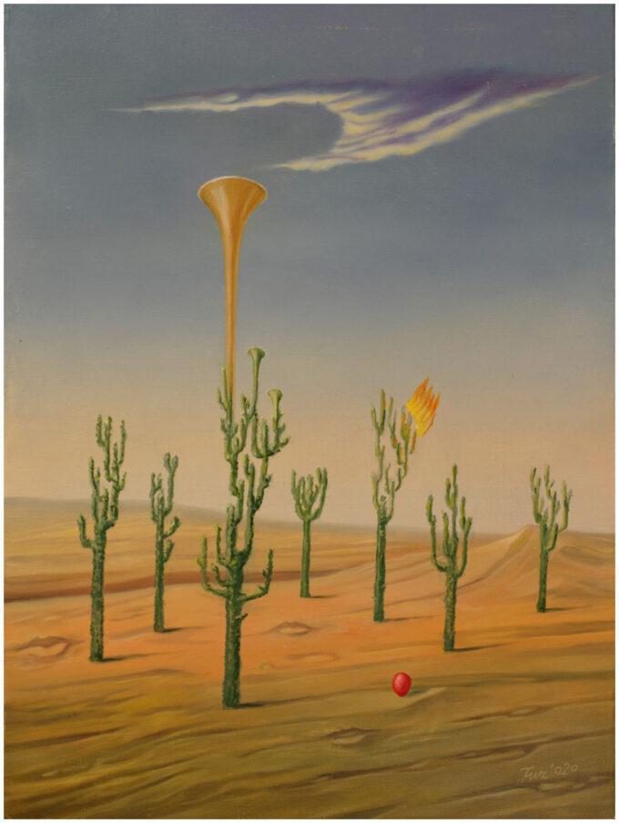 pustynia z kaktusami i trąbką złotą do nieba Edward Tuz Usta Spragnione