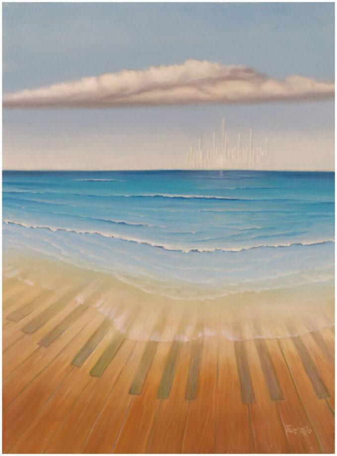 klawiatura pianina zanurzona na brzegu morza Edward Tuz Fala56